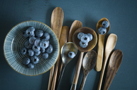 Bowl of blueberries and different spoons on blue ground - ASF06143