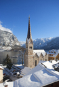 Austria, Upper Austria, Salzkammergut, Hallstatt, Lake Hallstatt, evangelic church - WWF04010
