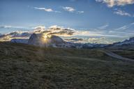Italy, South Tyrol, Seiser Alm, Langkofel and Plattkofel at sunrise - LOMF00678