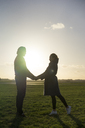 Affectionate young couple standing hand in hand on a meadow at sunset - HHLMF00142