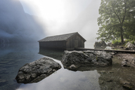 Germany, Bavaria, Berchtesgaden Alps, Lake Obersee, boathouse - RPSF00072
