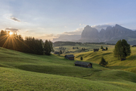 Italy, South Tyrol, Seiser Alm, barns in the morning - RPSF00087