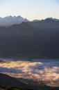 Austria, Salzkammergut, View from Schafberg to St. Wolfgang and Dachstein - WWF04092