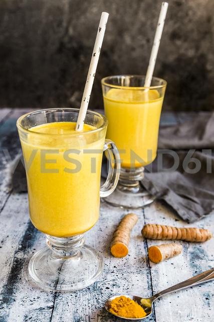 Two glasses of curcuma milk - SARF03459