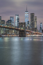 USA, New York City, Manhattan, Brooklyn, cityscape with Brooklyn Bridge at night - RPSF00117
