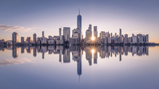 USA, New York City, Manhattan, New Jersey, cityscape at sunset - RPSF00129