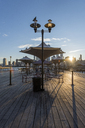 USA, New York City, Manhattan, New Jersey, waterfront at sunset - RPSF00132