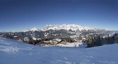 Austria, Styria, Liezen District, Schladming, Gleiming, Reiteralm, ski area, Hochalm, View to Dachstein massif - WW04127