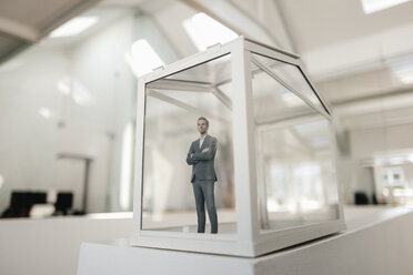 Businessman figurine standing in glasshouse - FLAF00102