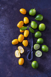 Sliced and whole kumquats, limequats, leaves and old knife on rusty ground - CSF28698