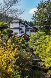 Japan, Koya-san, building exterior and park - THAF02077
