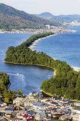 Japan, Kyoto Prefecture, view on Amanohasidate with sandbar and sea - THAF02089