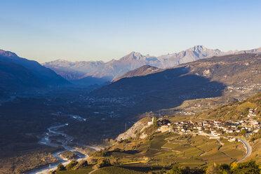 Switzerland, Valais, Rhone, Varonne, townscape and vineyards - WDF04312