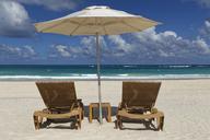 Carribean, Dominican Republic,  Playa Bavaro, beach with two sun loungers and beach umbrella - GFF01063