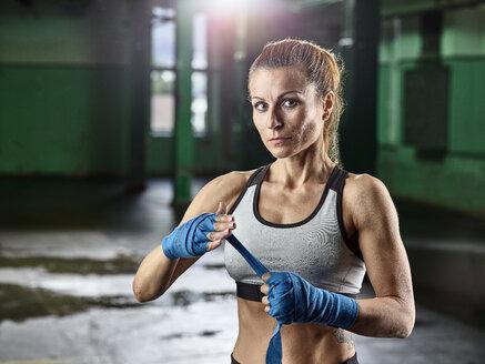 Portrait of female martial artist preparing for a fight - CVF00007