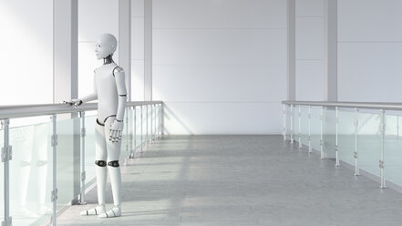 Robot standing in empty room, waiting - AHUF00459