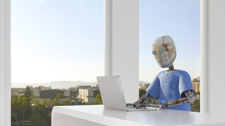 Robot working in office, using laptop - AHUF00465