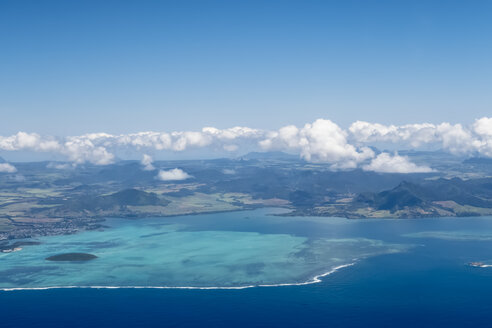 Mauritius, Indian Ocean, Aerial view of East Coast, Mahebourg and Island Ile Aux Aigrettes - FOF09686