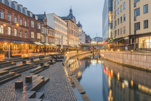 Denmark, Aarhus, view to lighted city with Aarhus River - KEBF00708
