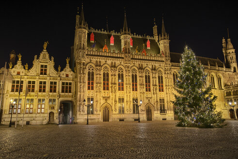 Belgium, Flanders, Bruges, Old town, castle square, town hall and christmas tree at night - THGF00041