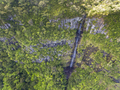 Mauritius, Black River Gorges National Park, Aerial View of waterfall - FOF09692