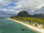 Mauritius, Southwest Coast, view to Indian Ocean, Le Morne with Le Morne Brabant, resort with beach - FOF09698