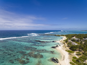 Mauritius, East Coast, Indian Ocean, Trou d'Eau Douce, Aerial view of beach - FOF09710