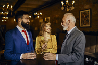 Two elegant men and woman socializing in a bar - ZEDF01147