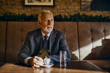 Portrait of elegant senior man sitting in a cafe - ZEDF01165