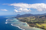 Mauritius, Southwest Coast, view to Indian Ocean, Le Morne with Le Morne Brabant, aerial view - FOF09720