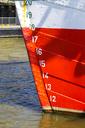 Germany, Hamburg, detail of water level numbers on museum ship Rickmer Rickmers - PUF01105