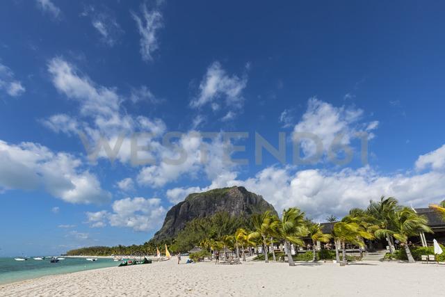 Mauritius, Southwest Coast, Le Morne with Mountain Le Morne Brabant, Hotel facility at beach - FOF09762