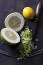 Two halves of citron, lemon, citronat and cleaver - CSF28769