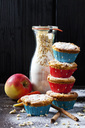 Apple cinnamon muffins and glass bottle of baking mix - CSF28775