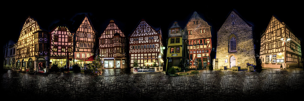 Germany, Hesse, Limburg, Old town, half-timbered houses at night, photomontage, panorama - MHF00430