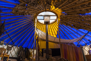Interior of a yurt made of waste material - TCF05454