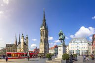 Germany, Hallle, market Ssquare with Red Tower, Haendel Memorial and Market Church - PU01124