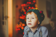 Portrait of boy wearing wooly hat at Christmas - NMS00192