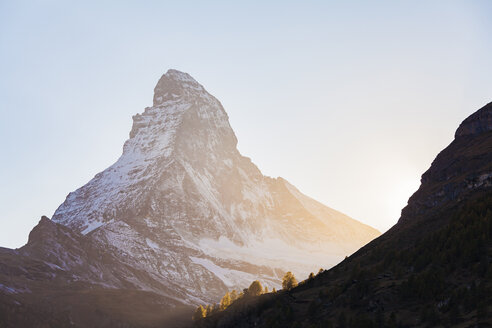 Switzerland, Valais, Zermatt, Matterhorn in the morning - WDF04328