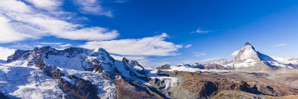 Switzerland, Valais, Zermatt, Breithorn, Matterhorn, Panorama - WDF04346