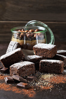 Brownies and glass of baking mix for preparing brownies - CSF28815