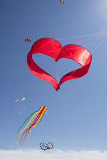 Heart-shaped and other kites in the sky - JATF01014