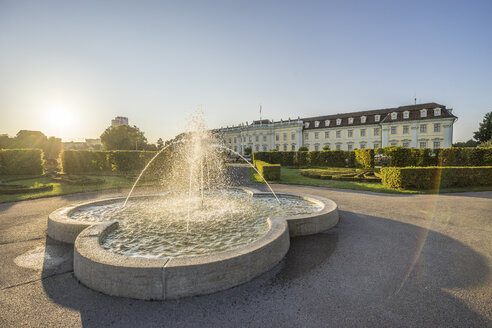Germany, Baden-Wuerttemberg, Ludwigsburg, Ludwigsburg Palace, fountain in the evening - PVCF01271