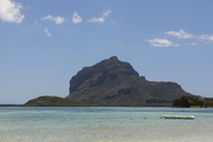 Mauritius, South Coast, Indian Ocean, Le Morne with Mountain Le Morne Brabant, boat - FOF09822