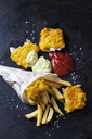 Fish and chips with remoulade and ketchup - CSF28834
