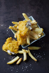 Fish and chips with lemon slice - CSF28837