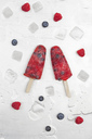 Fruit ice lollies with fresh raspberries and blueberries - GWF05407
