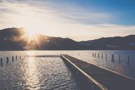 Germany, Bavaria, Tegernsee, boardwalk at sunset - PUF01182