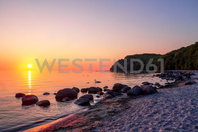 Germany, Mecklenburg-Western Pomerania, Baltic sea seaside resort Binz, beach at sunset - PUF01187