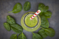 Green detox smoothie with avocado, kiwi and baby spinach - LVF06631